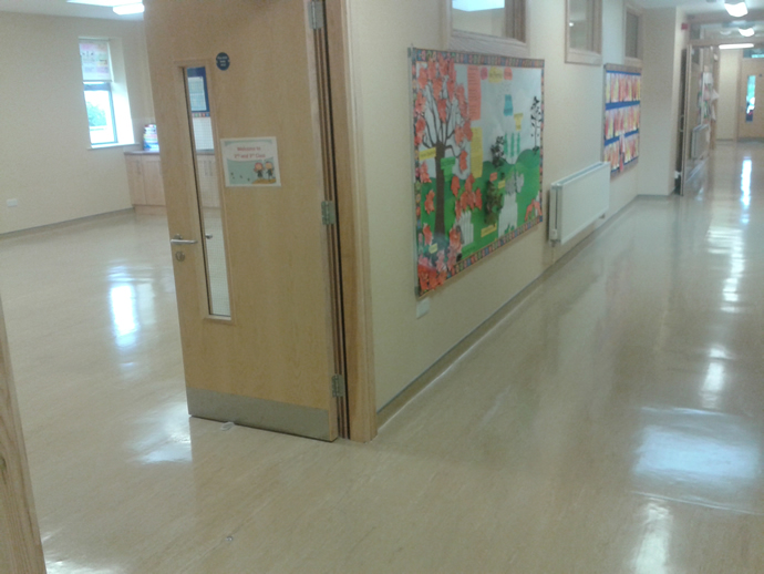 Floor polishing for a school